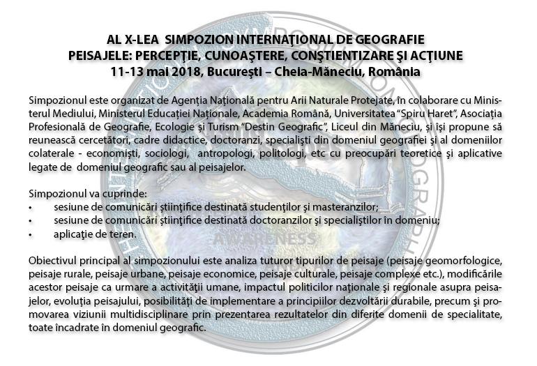 AL X-LEA  SIMPOZION INTERNAŢIONAL DE GEOGRAFIE